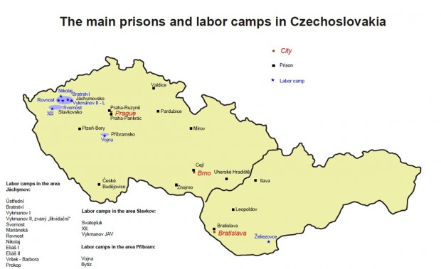 Main Prisons and Forced Labour Camps in Communist Czechoslovakia